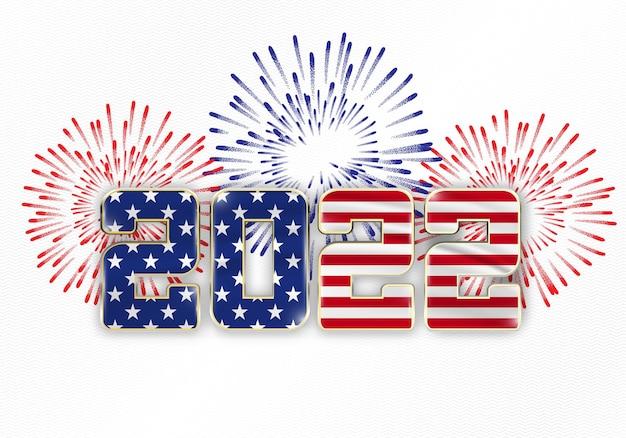 Новогодний фон 2022 года с национальным флагом сша и фейерверком