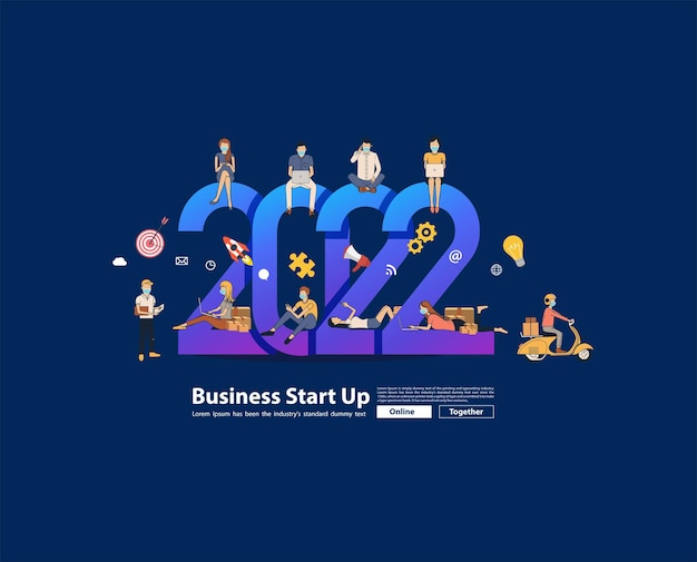 2022 new year business people working together selling online ideas concept, vector illustration modern layout template