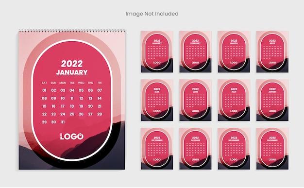 2022年新年カレンダーデザインテンプレートクリーンで最小限のカレンダー