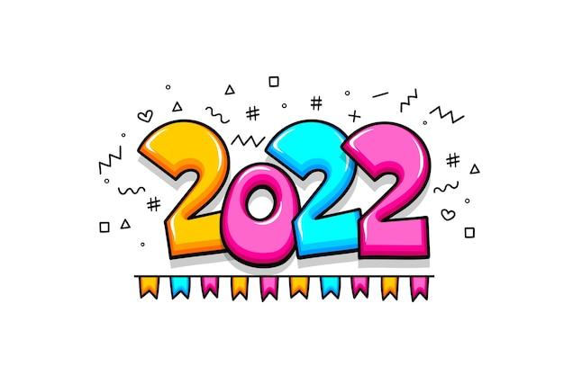 2022 новый год мультфильм комический текст номер эскиз стиль. простой рисунок и флаги. 2022 приветствие красочные векторные иллюстрации. яркие цвета комического текста 2022 рождественские надписи.