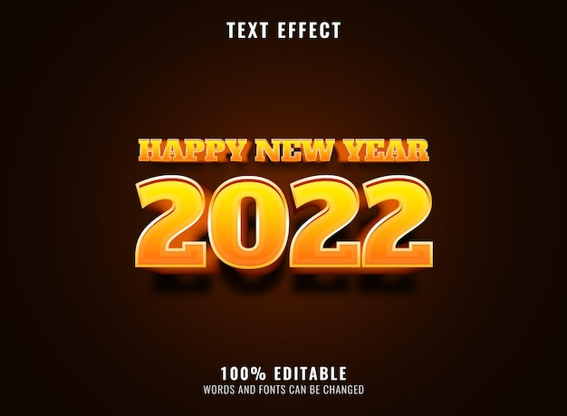 2022 new year cartoonist gold text effect