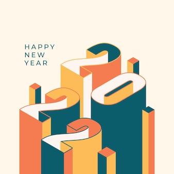 Празднование нового года 2022 года в instagram и facebook в изометрическом стиле