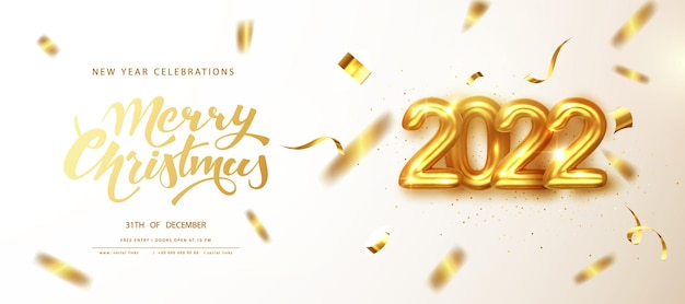 2022 новый год. золотые числа 2022 года с падающим золотым мерцающим конфетти поздравительной открытки. с рождеством христовым баннер