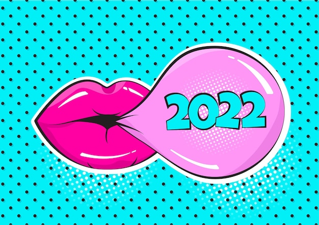 2022년 새해 만화 벡터 껌 거품과 물방울 무늬 배경에 분홍색 입술. 팝 아트 스타일의 인사말 카드입니다. 휴일 그림