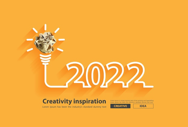 2022 new year creativity inspiration with crumpled paper ball light bulb ideas concept design, vector illustration