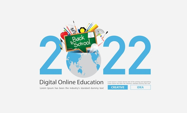 2022 new year creativity inspiration with global education ideas concept design, vector illustration
