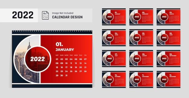 2022年新年の卓上カレンダーデザインテンプレート赤と黒の色の形のモダンなレイアウト