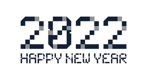 2022 новый год разнообразный необычный знак для украшения события 2022 года, милая графика, креативная концепция эмблемы для баннера, брошюра, флаер, календарь, поздравительная открытка, приглашение на мероприятие. изолированный векторный логотип.