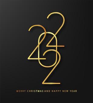 2022年新年。挨拶デザインゴールドナンバーオブザイヤー。エレガントなゴールドテキスト2022。