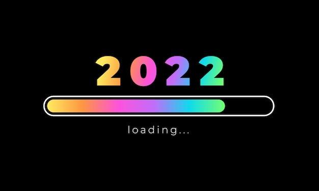 2022 новый год дизайн голографической панели загрузки на черном фоне. забавная цитата о новом году 2022. типографский дизайн для зимних праздников, плакат футболки. векторная иллюстрация