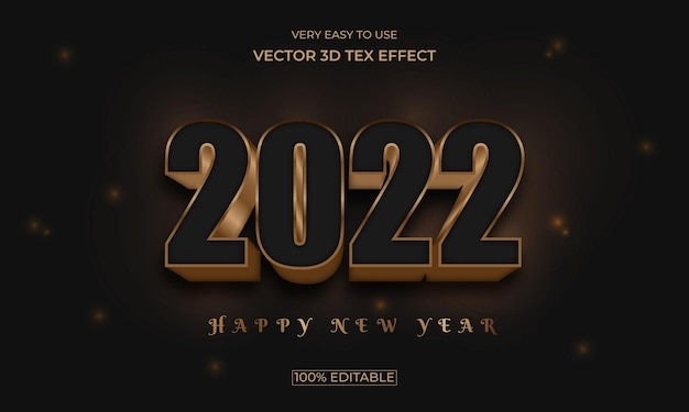 2022 new year lighting 3d text effect design