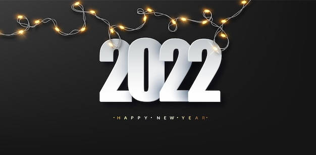 2022 новый год роскошная иллюстрация на темном фоне со светящейся светодиодной гирляндой. поздравления с новым годом.