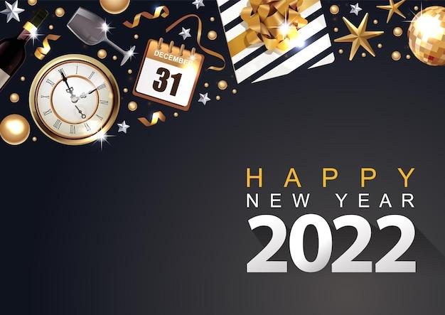 2022 새 해 럭셔리 포스터 또는 선물 상자 황금 리본 및 색종이 배경 배너
