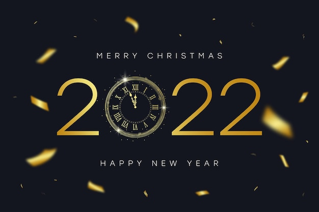 2022 new year and merry christmas banner with gold vintage clock with numerals and golden confetti