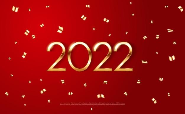 Шаблон новогоднего плаката 2022 года с сияющими золотыми звездами и конфетти на красном фоне вектор