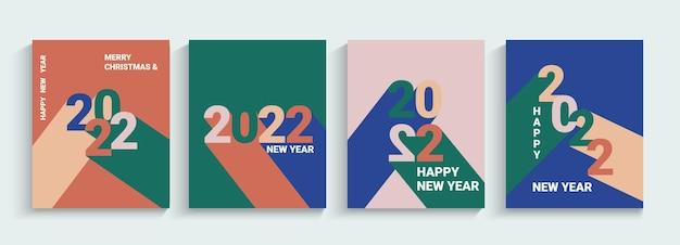 2022년 새해, 인사말 배너, 전단지를 설정합니다. 다양한 색상의 그림자가 있는 숫자입니다. 컬렉션 포스터, 간단한 기하학적 스타일의 카드입니다. 표지, 소셜 미디어, 전단지, 헤더용 템플릿을 디자인합니다. 벡터.