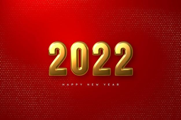 Новогодний знак 2022 года. 3d металлические золотые цифры на красном