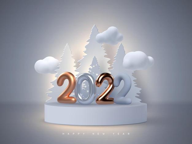 Новогодний знак 2022 года. 3d металлический золотой или медный с синими числами, стоящими на подиуме с елкой и облаками. векторная иллюстрация.