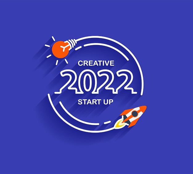 2022 new year startup business rocket launch with creative light bulb ideas, vector illustration modern design layout template