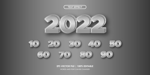 2022 number text effect luxury