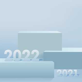 2022 numbers on the podium for the greeting card happy new year. vector.