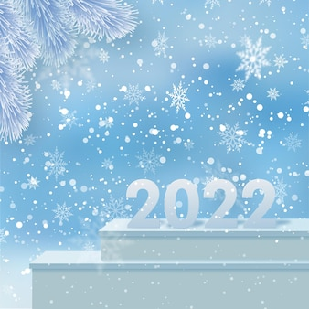 2022 numbers on the podium in the greeting card happy new year. vector.