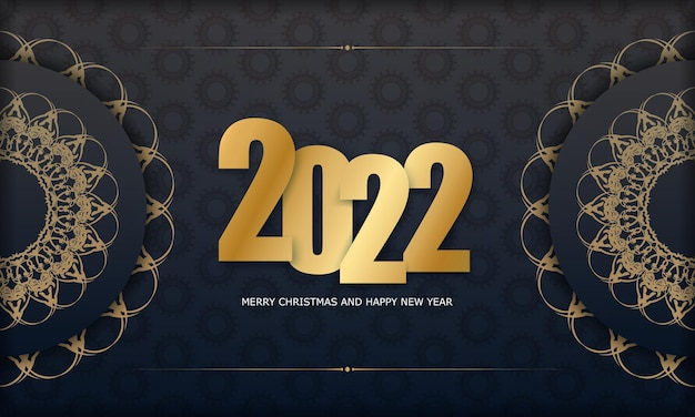 2022 postcard merry christmas and happy new year black color with abstract gold pattern
