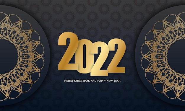 2022 postcard merry christmas and happy new year black color with vintage gold ornament