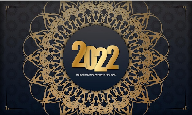 2022 postcard merry christmas and happy new year black color with vintage gold pattern