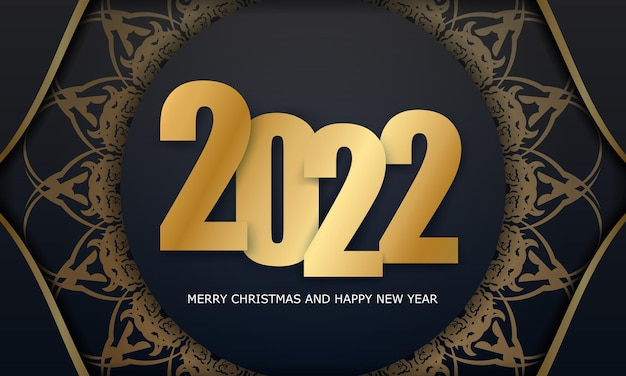 2022 postcard merry christmas and happy new year black color with winter gold ornament