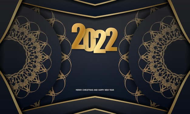 2022 postcard merry christmas and happy new year black color with winter gold pattern
