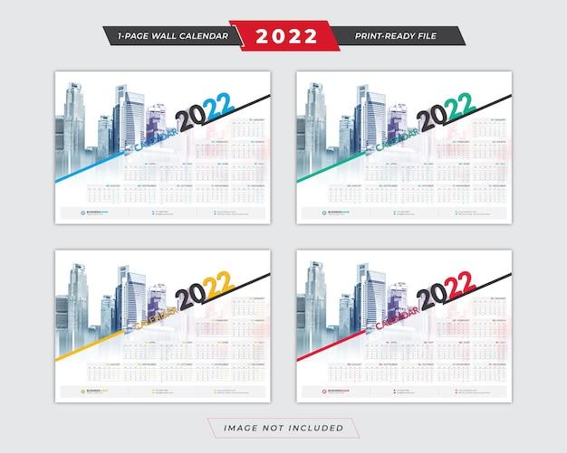 2022 poster calendar template with 4 color variation design