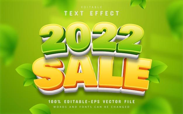 2022 sale text effect cartoon style