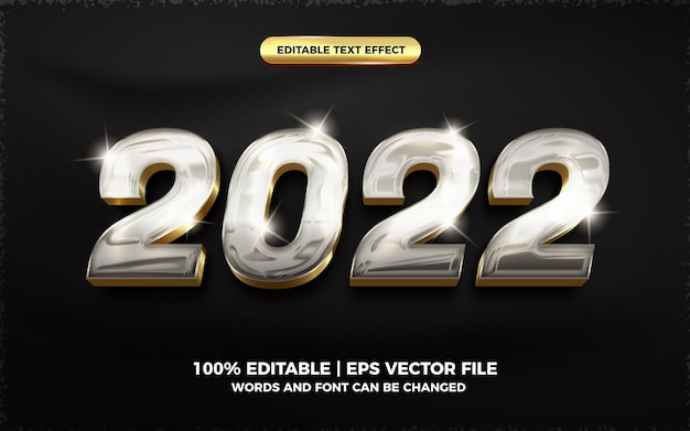 2022 shiny glass silver gold glossy 3d editable text effect