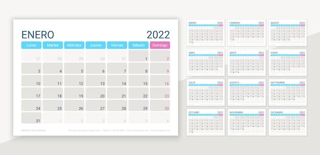 2022年のスペインのカレンダーレイアウト。デスクカレンダーテンプレート。ベクトルイラスト。