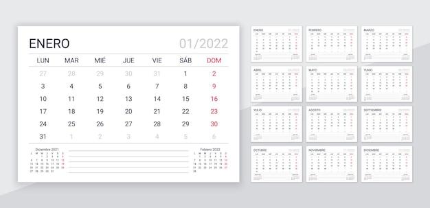 2022年スペイン暦。年のプランナーテンプレート。 12ヶ月のデスクカレンダーレイアウト。週は月曜日に始まります