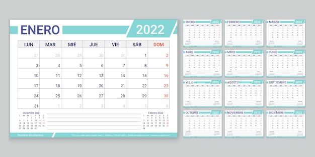 2022年のスペインのカレンダープランナーテンプレートの週は、12か月で月曜日のカレンダーレイアウトを開始します