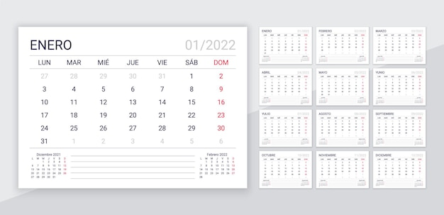 2022 spanish calendar. planner template for year. desk calender layout with 12 month. week starts monday