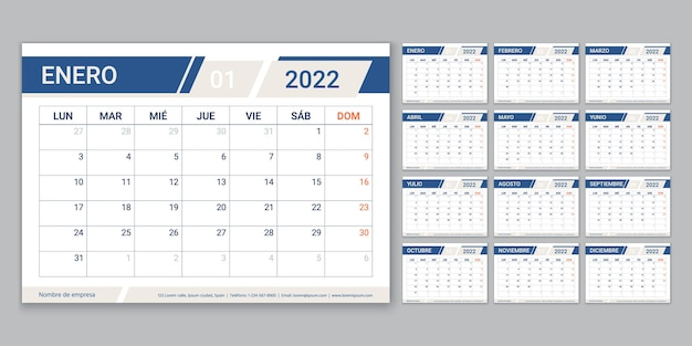2022 spanish calendar planner. week starts monday. calender template with 12 month. table schedule grid