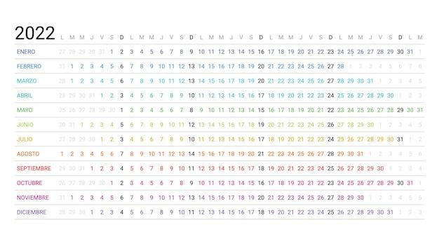 2022年スペインの線形カレンダー。年間の水平プランナー。週は月曜日に始まります。年間スケジュールグリッド