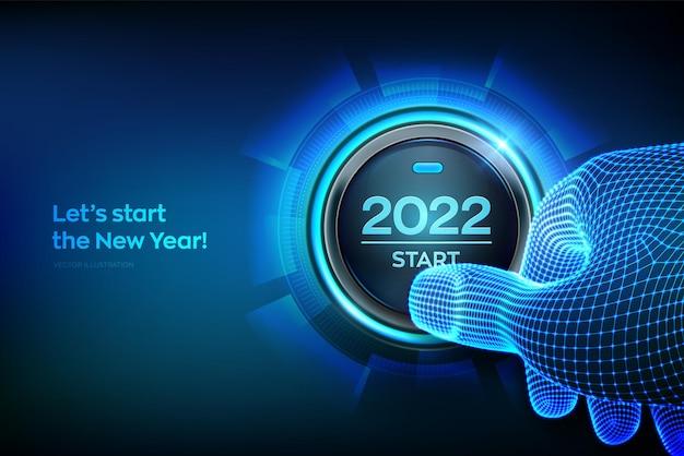 2022年スタート。 2022startというテキストが表示されたボタンを指で押しようとしています。明けましておめでとう。正月二千二十一がコンセプトになります。ベクトルイラスト。