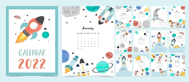 2022年のテーブルカレンダーの週は、日曜日に宇宙飛行士と銀河で始まります