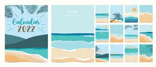2022年のテーブルカレンダーの週は、ビーチと海で日曜日に始まります