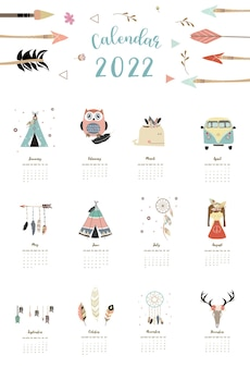 Настольная календарная неделя на 2022 год начинается в воскресенье с пера бохо, который используется для вертикальных цифровых и печатных форматов a4 a5.