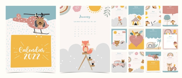 2022 table calendar week start on sunday with animal and rainbow that use for vertical digital and printable a4 a5 size