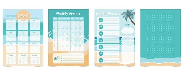 2022 table calendar week start on sunday with beach and sea