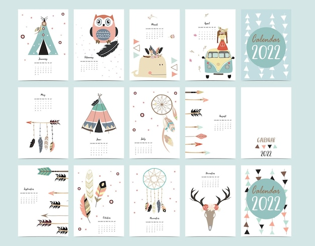2022 table calendar week start on sunday with boho feather that use for vertical digital and printable a4 a5 size