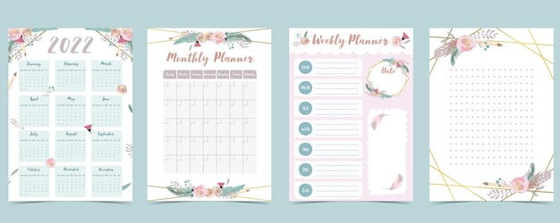 2022 table calendar week start on sunday with feather,flower that use for vertical digital and printable a4 a5 size