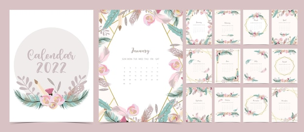 2022 table calendar week start on sunday with feather and flower