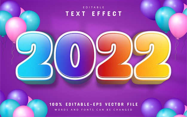2022 text, colorful cartoon text effect